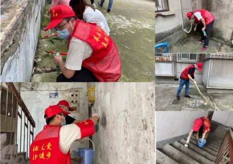 市民革学雷锋志愿服务队来到共建社区——航侧社区开展清洁家园专项行动